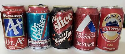 Dr Pepper Like- Cans- 5 Other Dr Cans - All 12 oz and Empty- Great for any can