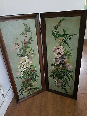 Vintage Folding Screen hand Painted Flowers Shabby Chic Mahogany
