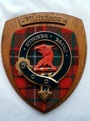 Old Scottish Carved Oak Clan NICHOLSON Tartan Plaque Crest Coat of Arms