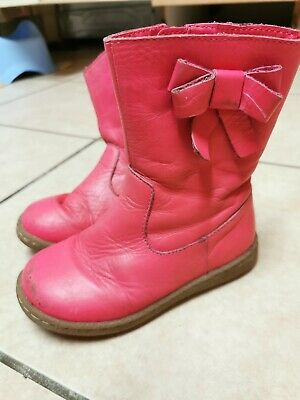 Girls M&S Pink Leather Boots Size 9