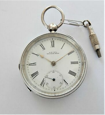 1900 Silver Cased Waltham English Lever Pocket Watch Working