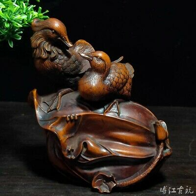 Collectable China Old Boxwood Hand-Carved Mandarin Duck Delicate Decor Statue