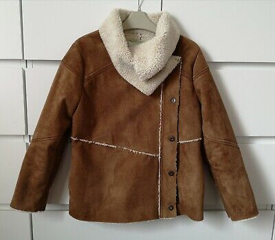 VERTBAUDET___brown faux leather jacket girl age 12 yrs 150 cm VGC