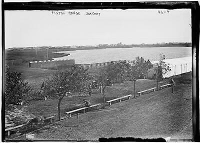 View of pistol range,Sea Girt,wooden benches,water,trees,September 1908