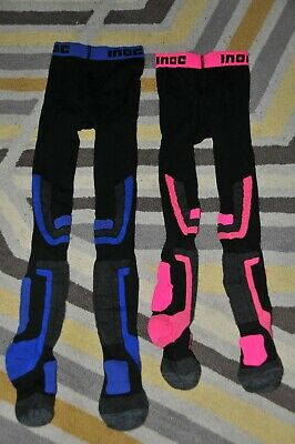 Girls/Boys Inoc Pink/Blue Technical Ski Snow Winter Tights Size 6-7-8 Years