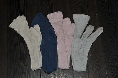Girls Next Pink Grey Navy Oatmeal Cable Tights Size 5-6 Years