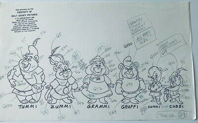 Gummi Bears Tummi Cubbi Zummi Grami Gruffi animation model sheet Disney
