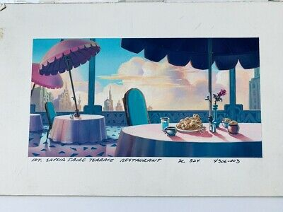 Savoir Faire Terrace TaleSpin Original Background Color Key Painting Disney TV