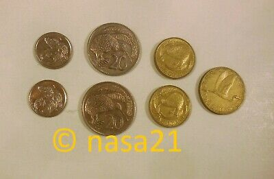 coins, New Zealand, lot of 7 – 5 and 20 cents, 1 and 2 dollars – 1989 - 2001