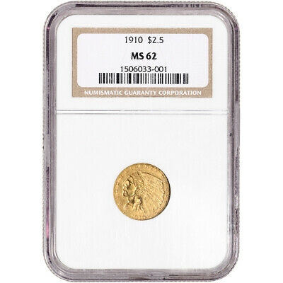 1910 US Gold $2.50 Indian Head Quarter Eagle - NGC MS62