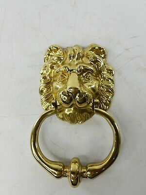 Vintage Solid Brass Lion Head Door Knocker 8'' Tall 2 Pounds VERY NICE