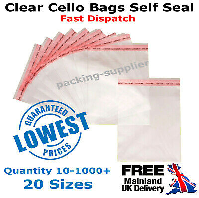 Clear Cellophane Cello Bags Self Peel Seal Display For Cards Sweets Large Small