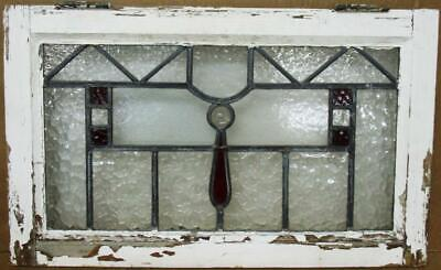 "OLD ENGLISH LEADED STAINED GLASS WINDOW Lovely Textures & Jewel 24.5"" x 15"""