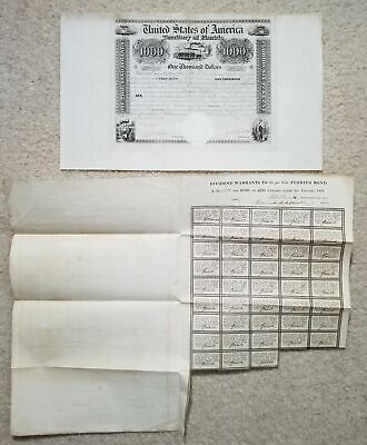 1838 $1000 United States of America (Territory of FLORIDA) Bond with Coupons!