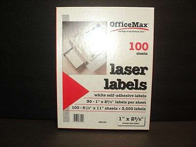 NEW Old Stock OfficeMax Laser Labels 100 Sheets with 30 Labels Per Sheet