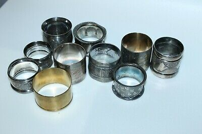 Vintage Lot Of 10 Napkin Ring Holders Silver Plate Brass Engraved Figural More