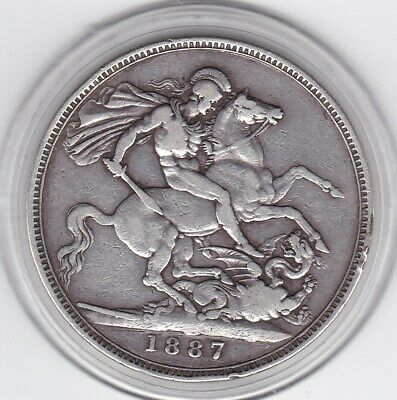1887   Jubilee  Head  Large  Crown / Five Shilling  Coin