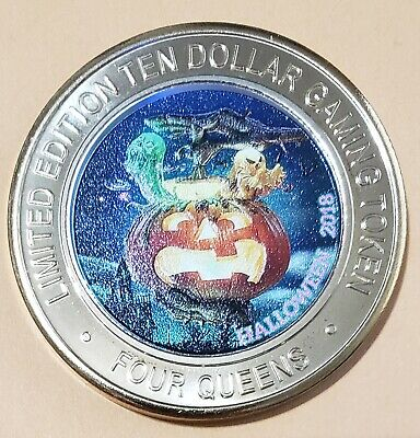 2018 $10 Four Queens Casino ~ Halloween Red Cap ~ .999 Silver Gaming Token