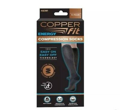 Copper Fit Energy Compression Socks 4 Pack Pair Black Size S/M NEW