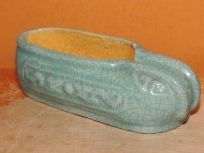 "Chinese Mud Shoe 4""+ Teal overglaze dragon pearl Mudman mark China Antique c1910"