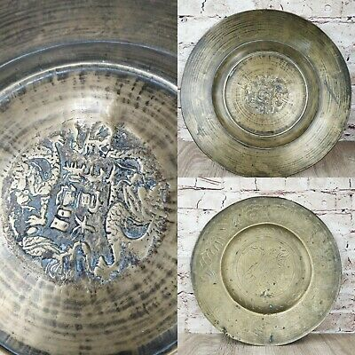 Antique Chinese Heavy Bronze Brass Plate Dish 6 Character mark China Dragon
