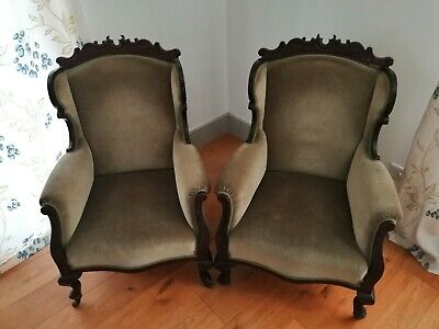 Set of 2 Unique and Original Antique Edwardian Armchairs, Velvet Green. Stunning