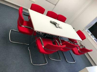 Eames Vitra White Boardroom/Meeting/Conference/Office table (8) cable management