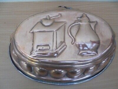 Large vintage French oval copper jelly mould, coffee pot & grinder design