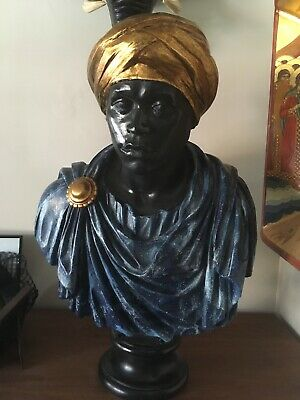 Painted And Gilded Composition Nubian Blackamoor Bust Venetian