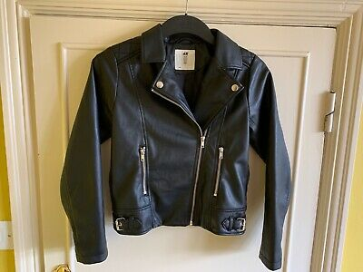H & M Girls Faux Leather Biker Jacket size 10 to 11 Years Excellent Condition