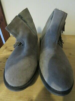 Next Girls Grey Ankle Boots with Fringe Size 3 GC
