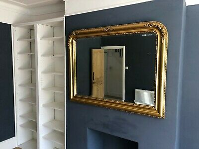 Large Overmantle Mirror - Antiqued Gilt/Gold - Bevelled Glass - Good Condition.
