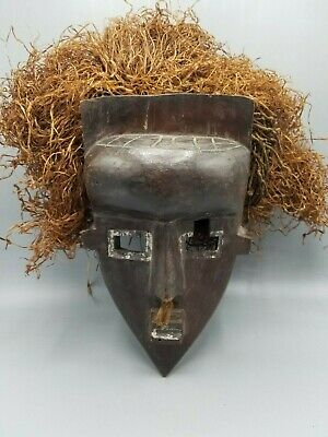Very Old African Lwalwa Primitive Tribal Mask With Raffia Square Eyes Mouth