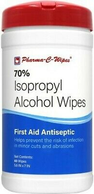 Isopropyl Alcohol 70% Antiseptic Wipe, 5 inch x 7 inch, Pop-Up Canister 40 wipes