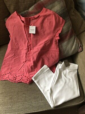 Girls Next 2 Piece Outfit 12-13 Years Cropped Leggings & Pink Top New Summer