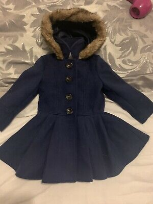 Girls Navy Coat Age 2-3 From Mothercare