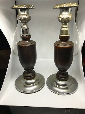 Pair Of Vintage Art Deco Style  Candlesticks With Wood And Metal