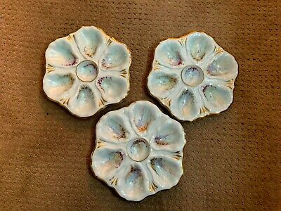 Oyster Plates (3) matching  porcelain Limoges, Antique,6 Wells