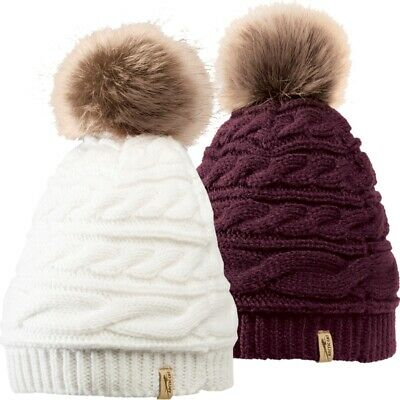Arctic Cat Cable Knit Fur Pom Fleece Lined Beanie - Cream or Blackberry