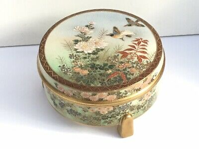 Superb Satsuma Lidded Round Box, Hand Painted, c. 1930's