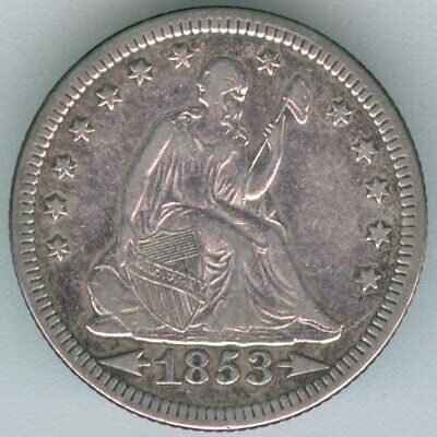 1853-P U.s. Seated Liberty Quarter – Silver – Cleaned - Extra Fine