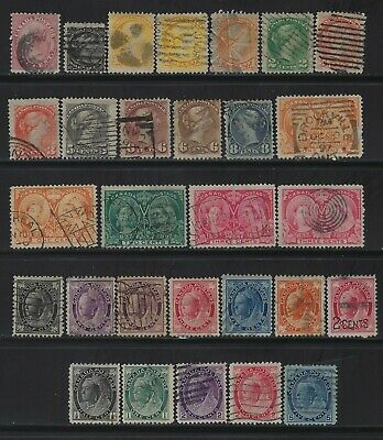 Canada - Queen Victoria Used Stamps Lot First Cents Small Queen Jubilee Leaf
