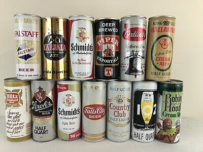 Lot of 13 Different Bottom Opened 16 oz Tall 1 Pint Pull Tab Beer Cans