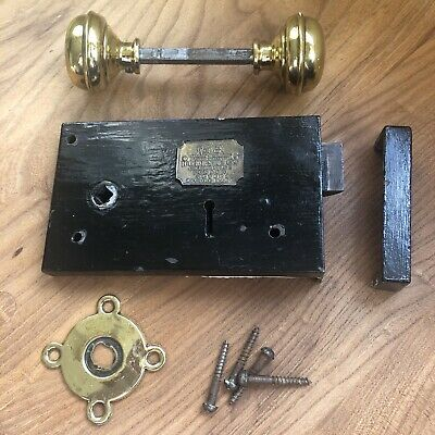 Pretty Antique Door Lock Escutcheon & Brass Handle Hobbs & Co Cheapside, London