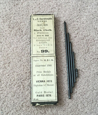 L&C Hardtmuth Koh-I-Noor Vintage Antique Black Chalk Points