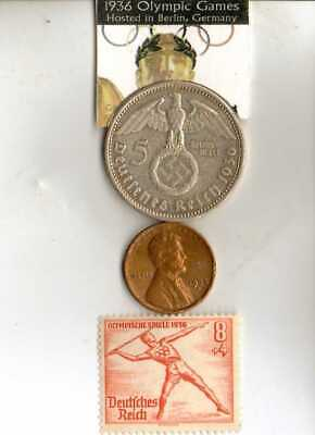 -*1936-*Olympic STAMP+SILVER EAGLE(.900%) coin +modern Time  Olympic stamp