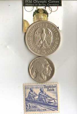 -*1936-*Olympic STAMP+SILVER EAGLE(.900%) coin +1956-SAAR Olympic stamp