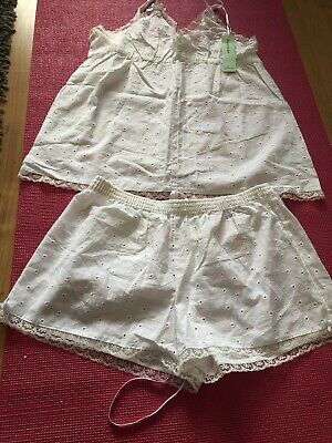 Cute White Embroided Pyjama Set By Primark Size 12-14 BNWT
