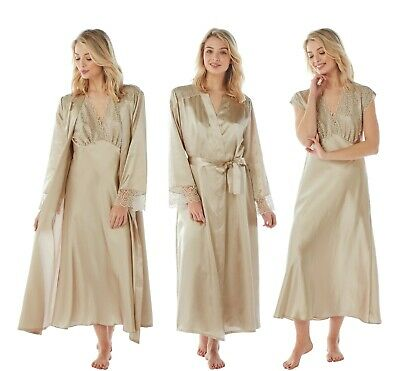 Ladies Gold Metallic Long Satin Chemise Nightie Nightshirt Wrap Kimono Bathrobe