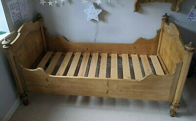 Antique French Pine Sleigh Bed - Single